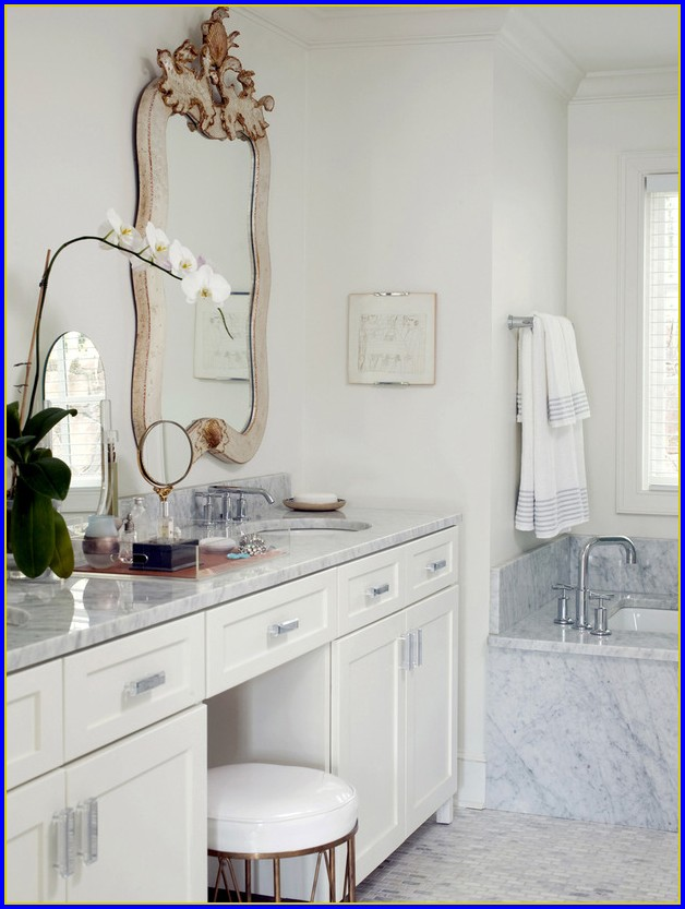 Double Bathroom Vanity With Makeup Area