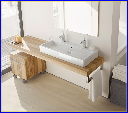 Trough Bathroom Sink With Three Faucets