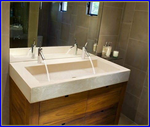 Trough Bathroom Sink With Two Faucets Canada