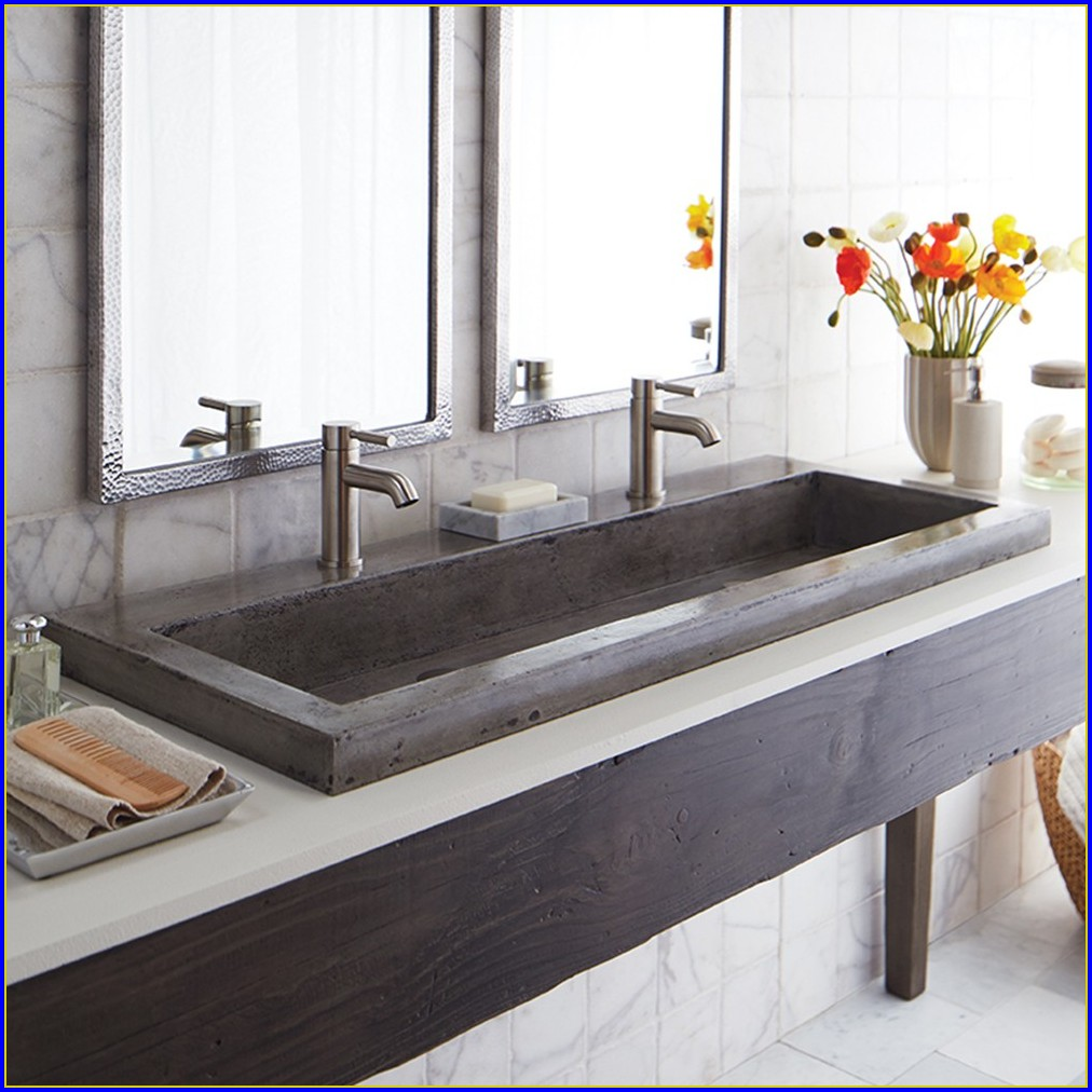 Trough Bathroom Sink With Two Faucets