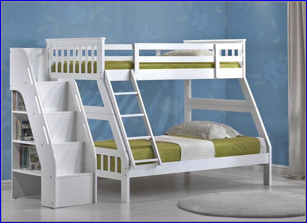 Twin Over Full Bunk Bed With Stairs And Slide