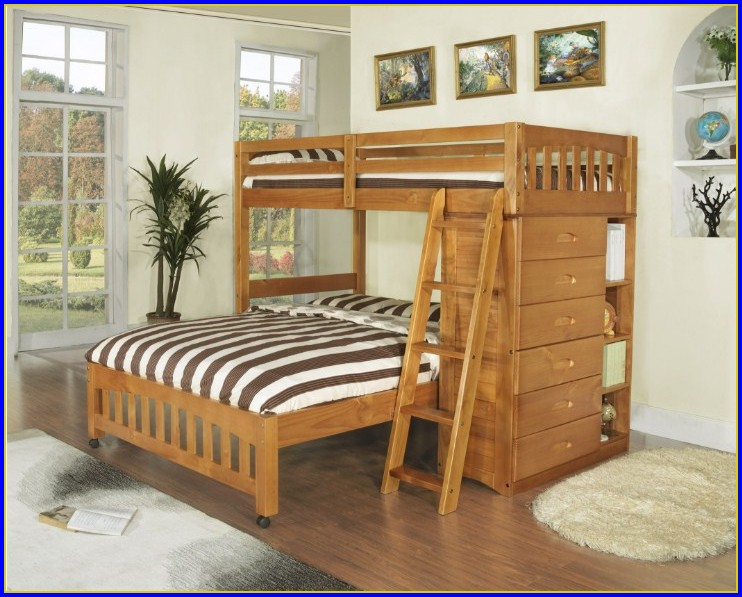 Twin Over Full Bunk Bed With Stairs Espresso
