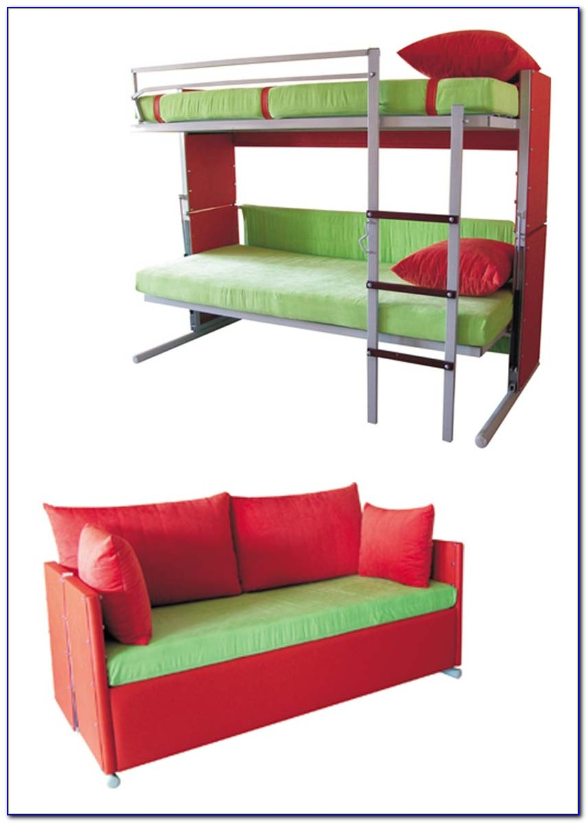Blue Couch That Turns Into Bunk Beds
