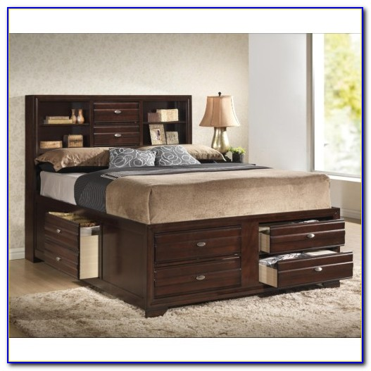 Captains Bed Queen Solid Wood