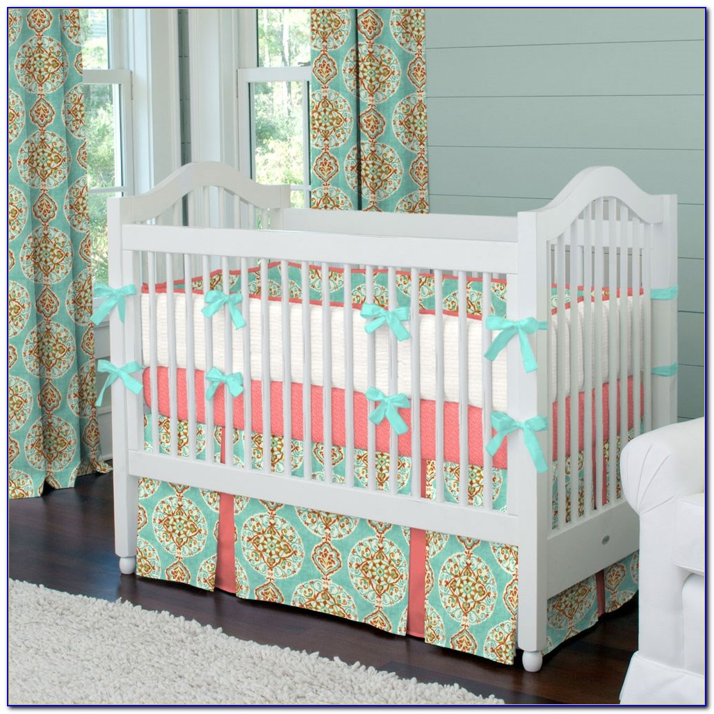 Coral And Turquoise Baby Bedding