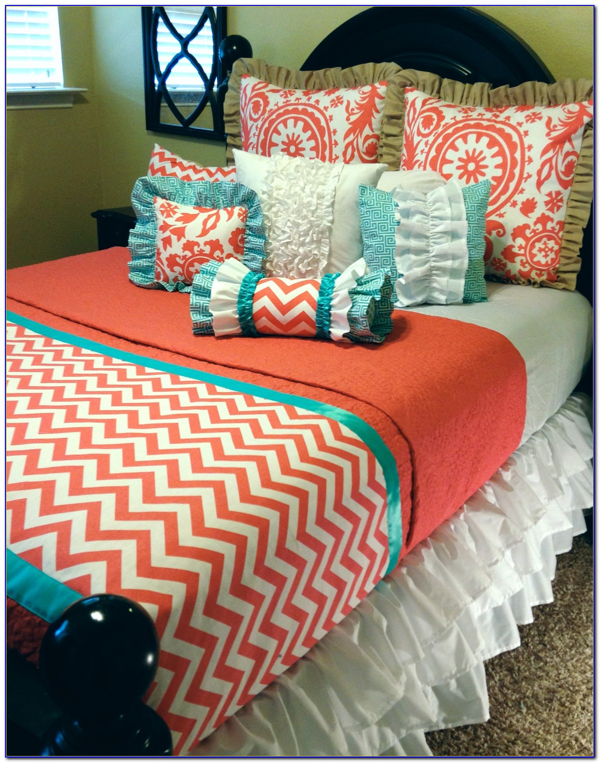 Grey Coral And Turquoise Bedding