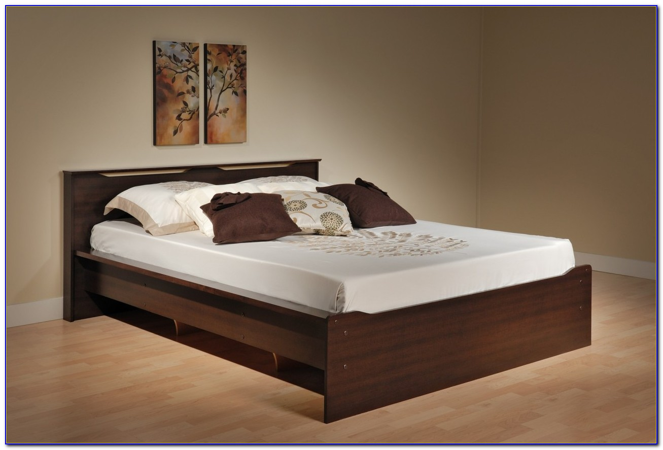 Platform Bed With Headboard Shelves