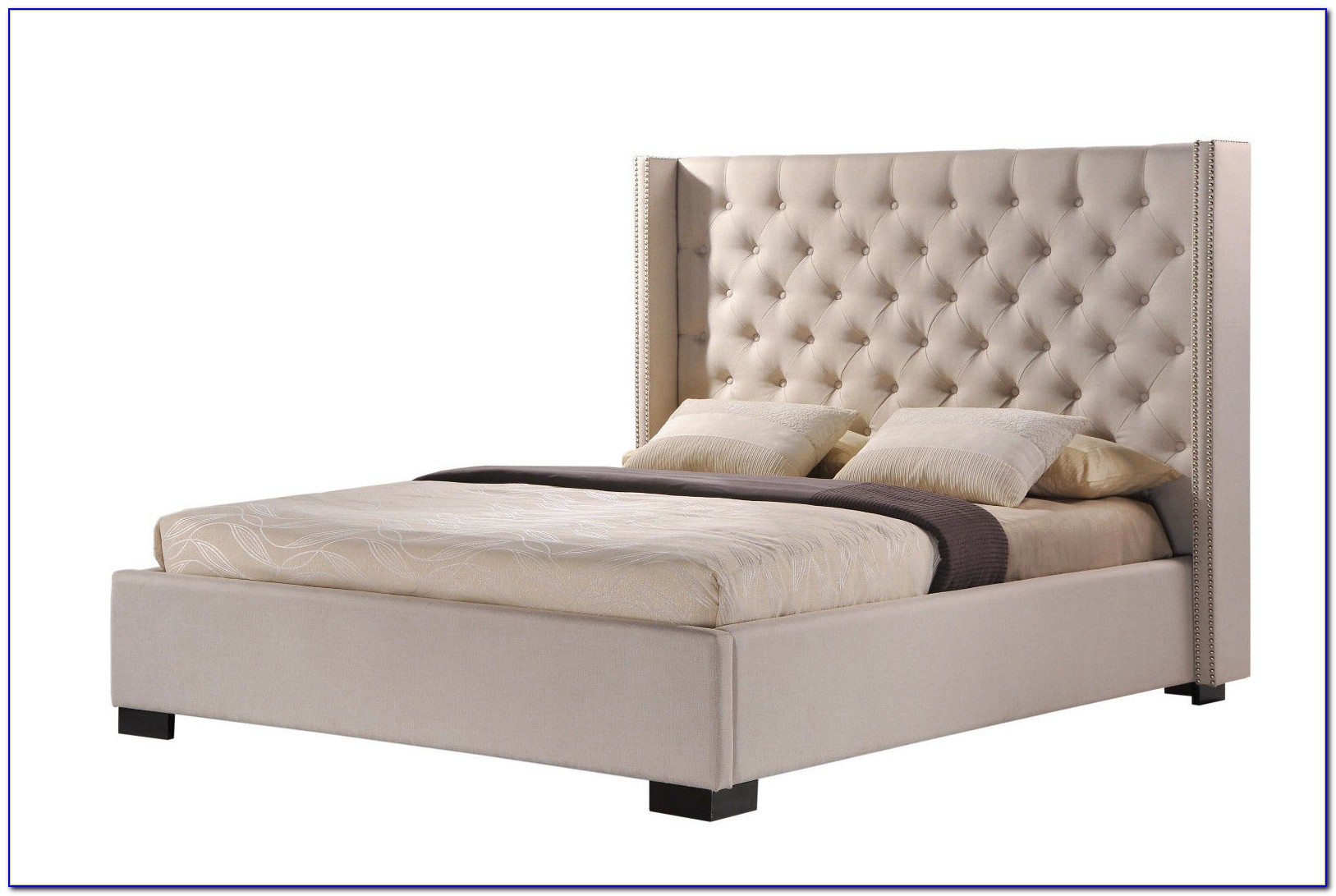 Tufted Wingback Bed With Footboard