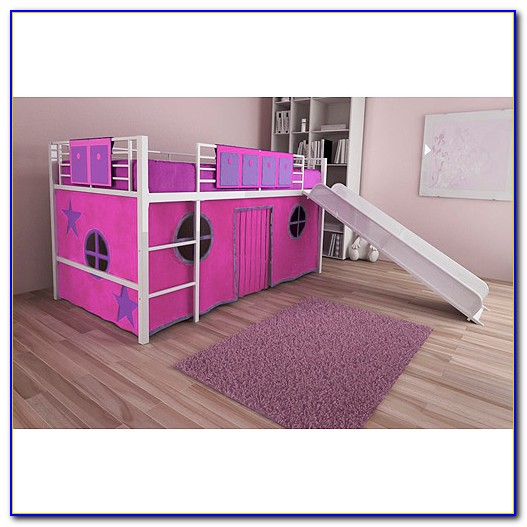 Twin Loft Bed With Slide And Tent