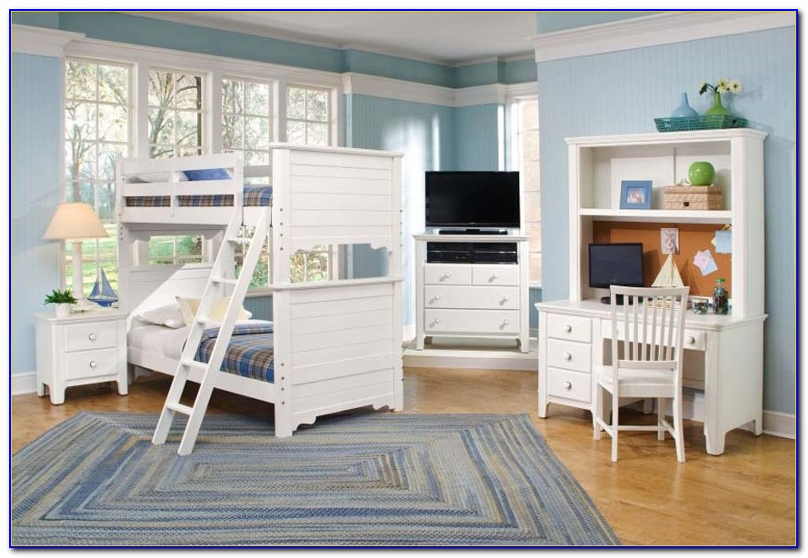 White Bunk Beds With Stairs And Desk