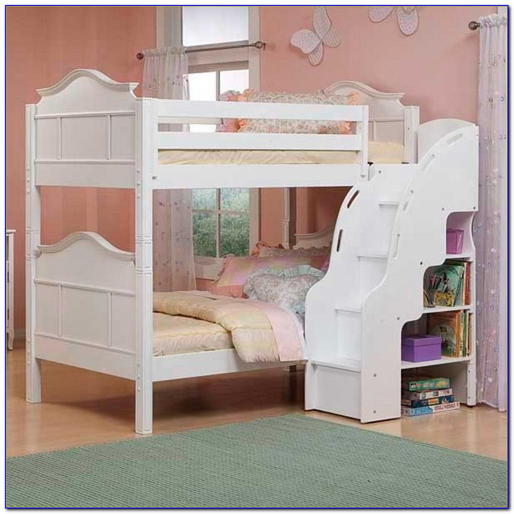 White Bunk Beds With Stairs And Storage