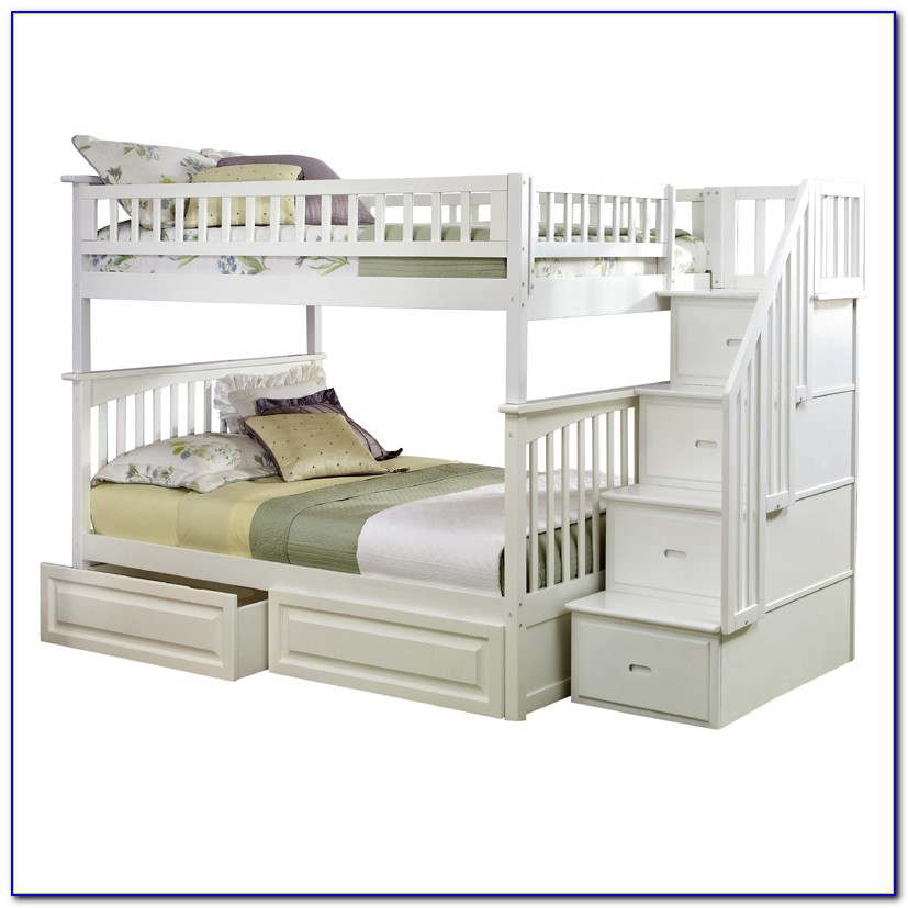 White Bunk Beds With Stairs Twin Over Full