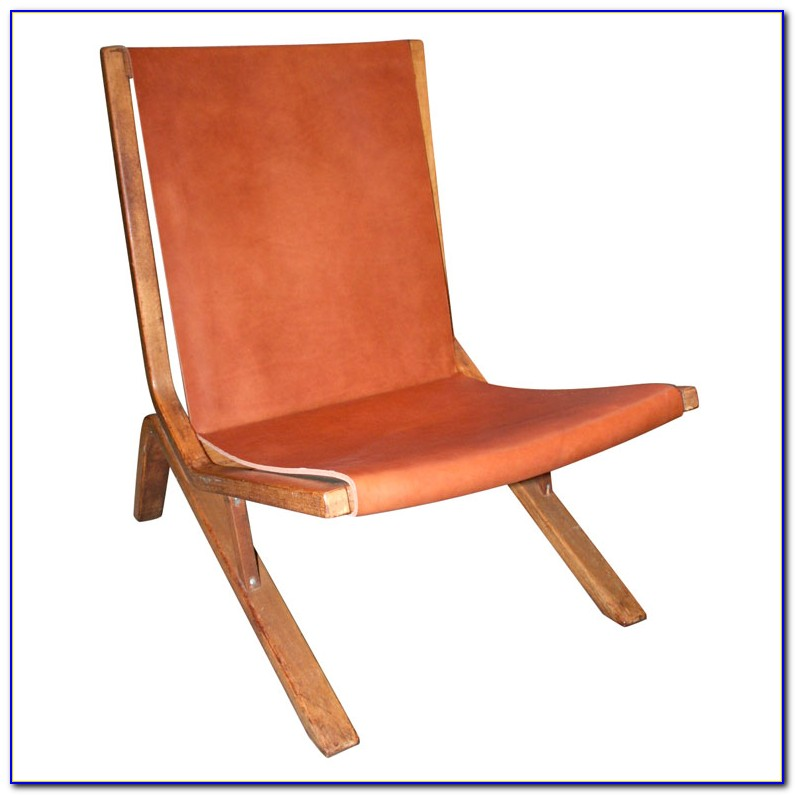 Leather Sling Chair With Ottoman