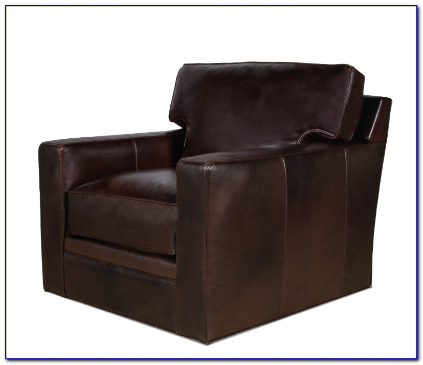 Leather Swivel Chair With Ottoman