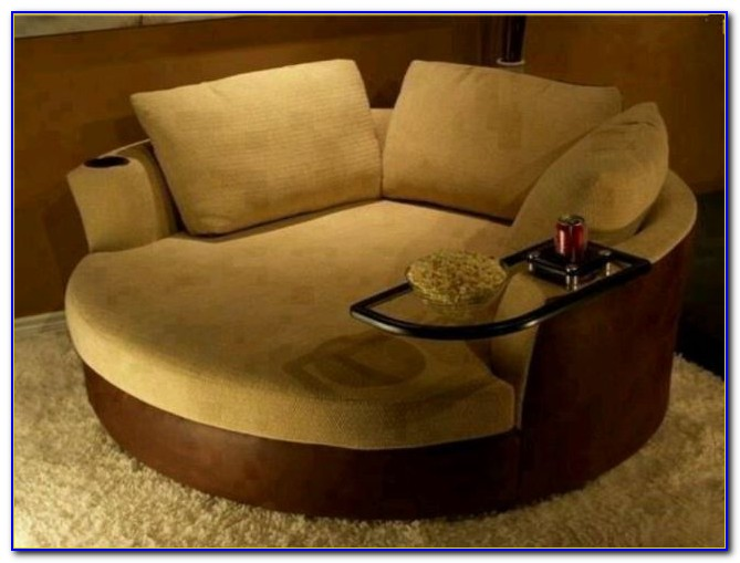 Oversized Round Swivel Chair With Cup Holder - Chairs ...