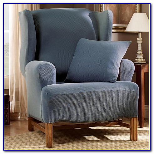 Wing Chair Slipcover Blue