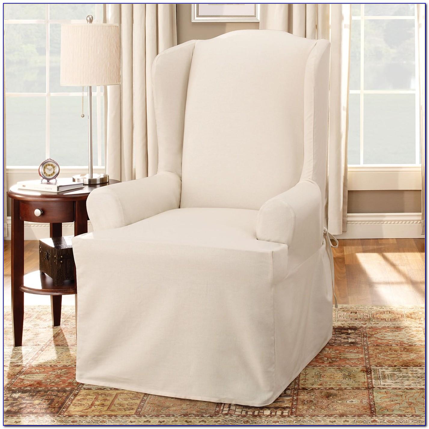 Wing Chair Slipcover Box Cushion