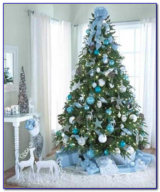 Christmas Trees Decorated In White