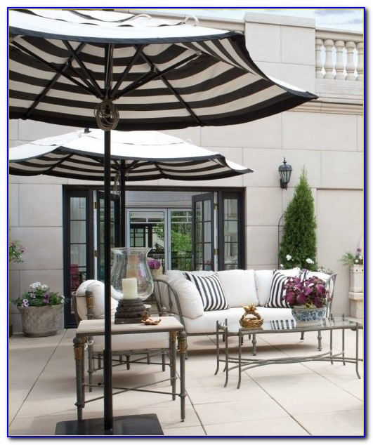 Black And White Striped Outdoor Patio Umbrella