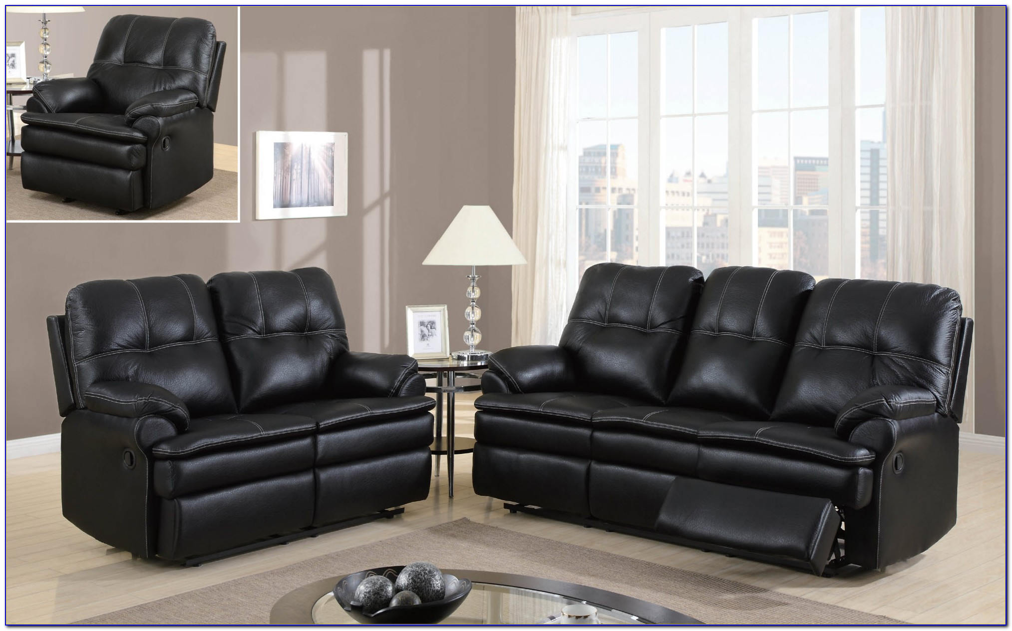 Black Microfiber Living Room Sets