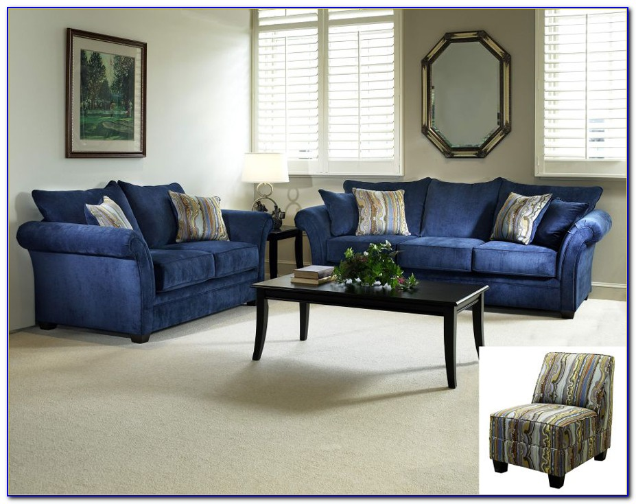 Blue Leather Couch Living Room Furniture