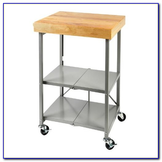 Butcher Block Kitchen Cart With Spice Rack