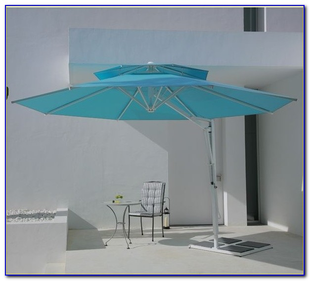 Turquoise Striped Patio Umbrella