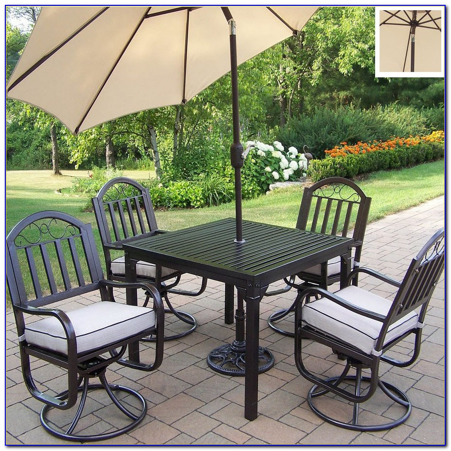 5 Piece Wrought Iron Motion Patio Dining Set