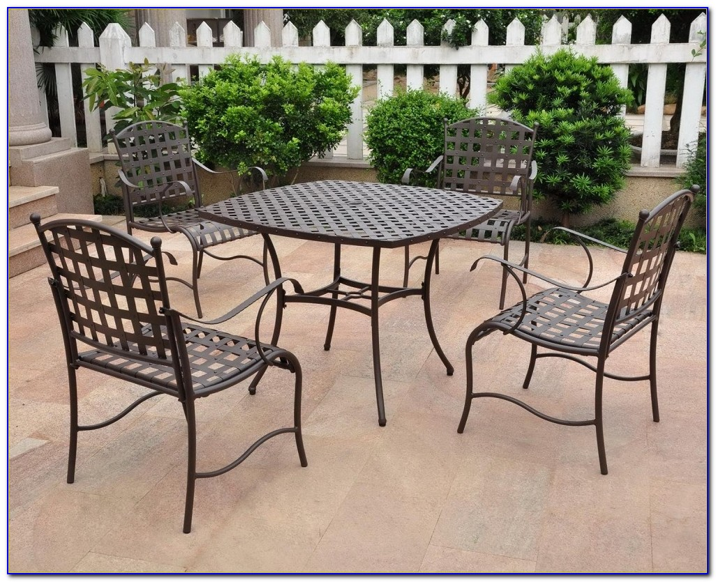 Antique Wrought Iron Patio Table And Chairs