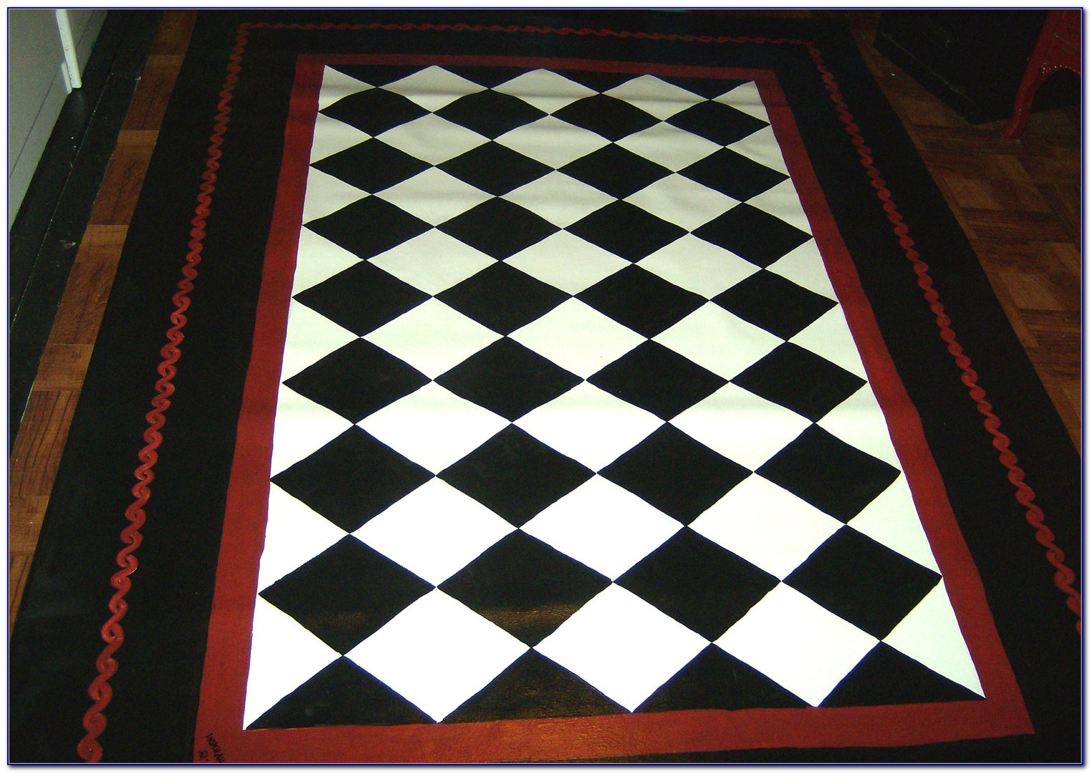 Black And White Checkered Outdoor Rug