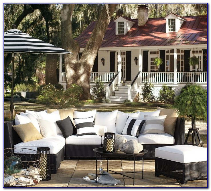 Black And White Striped Patio Cushions