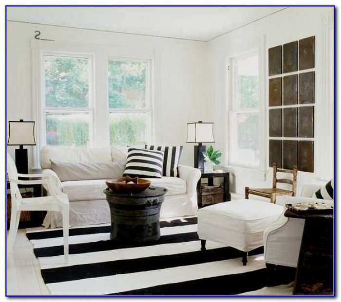Black And White Striped Rug 5x8