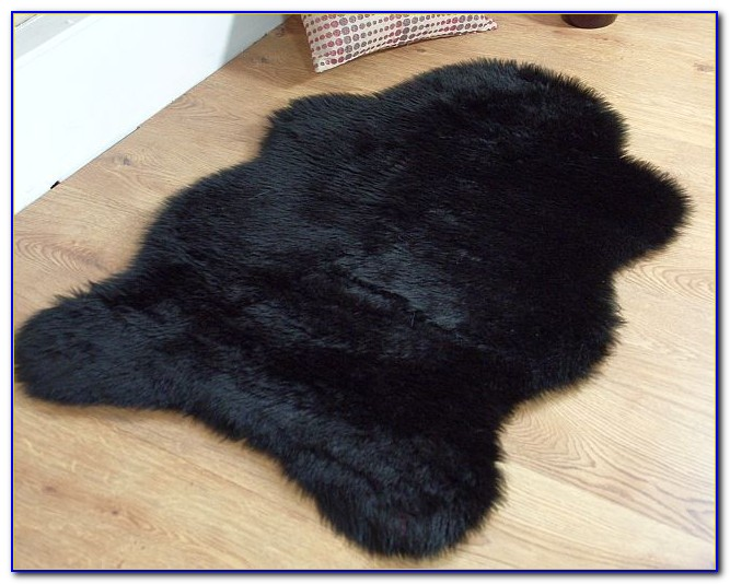 Black Furry Area Rug