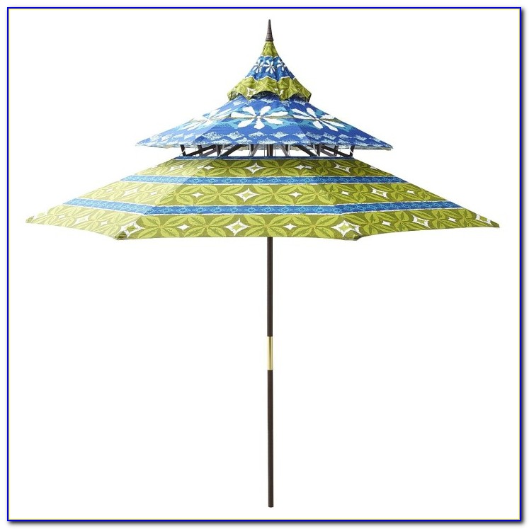 Blue Floral Patio Umbrella