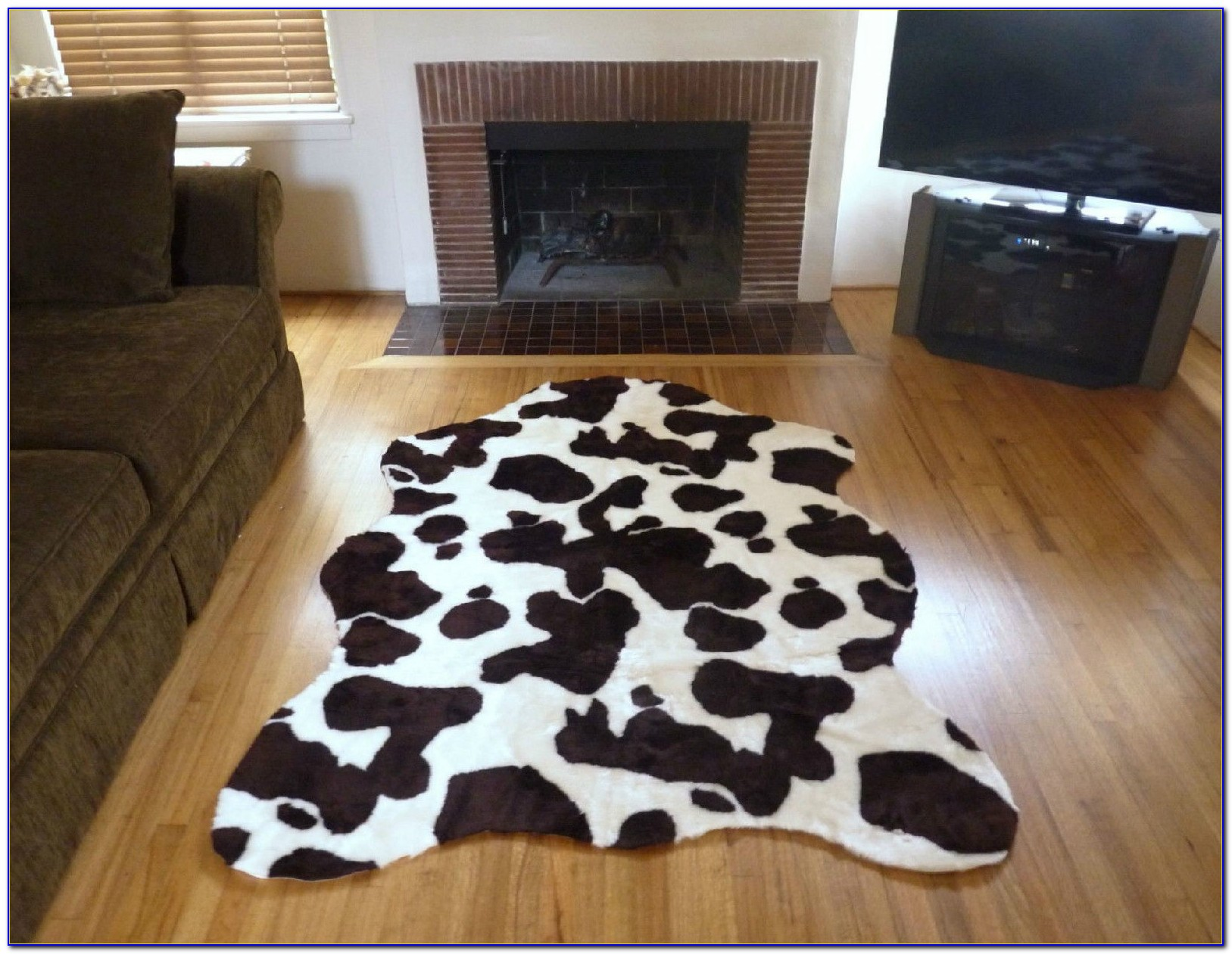 Faux Cowhide Rug White
