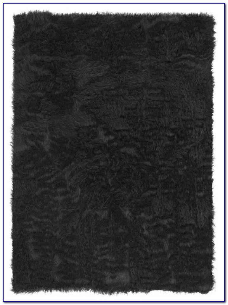 Faux Sheepskin Rug Black