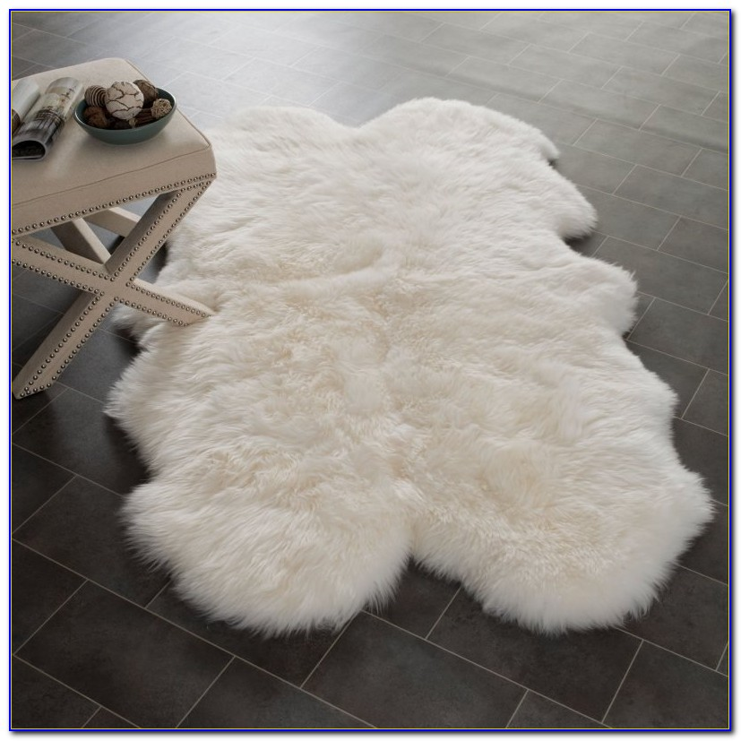 Furry Off White Rug
