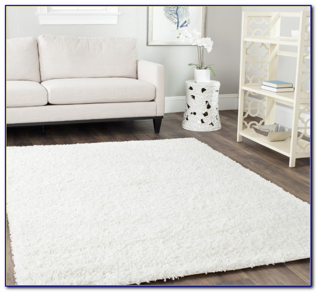 Furry White Throw Rug