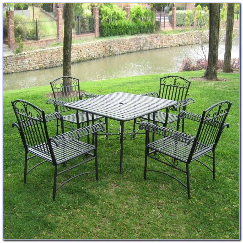Ham Lake 5 Piece Wrought Iron Motion Patio Dining Set