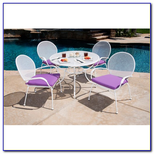International Caravan 5 Piece Mesh Wrought Iron Patio Dining Set