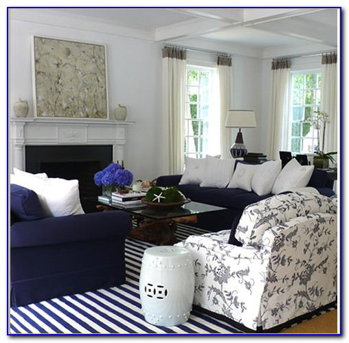 Navy And White Striped Bathroom Rug