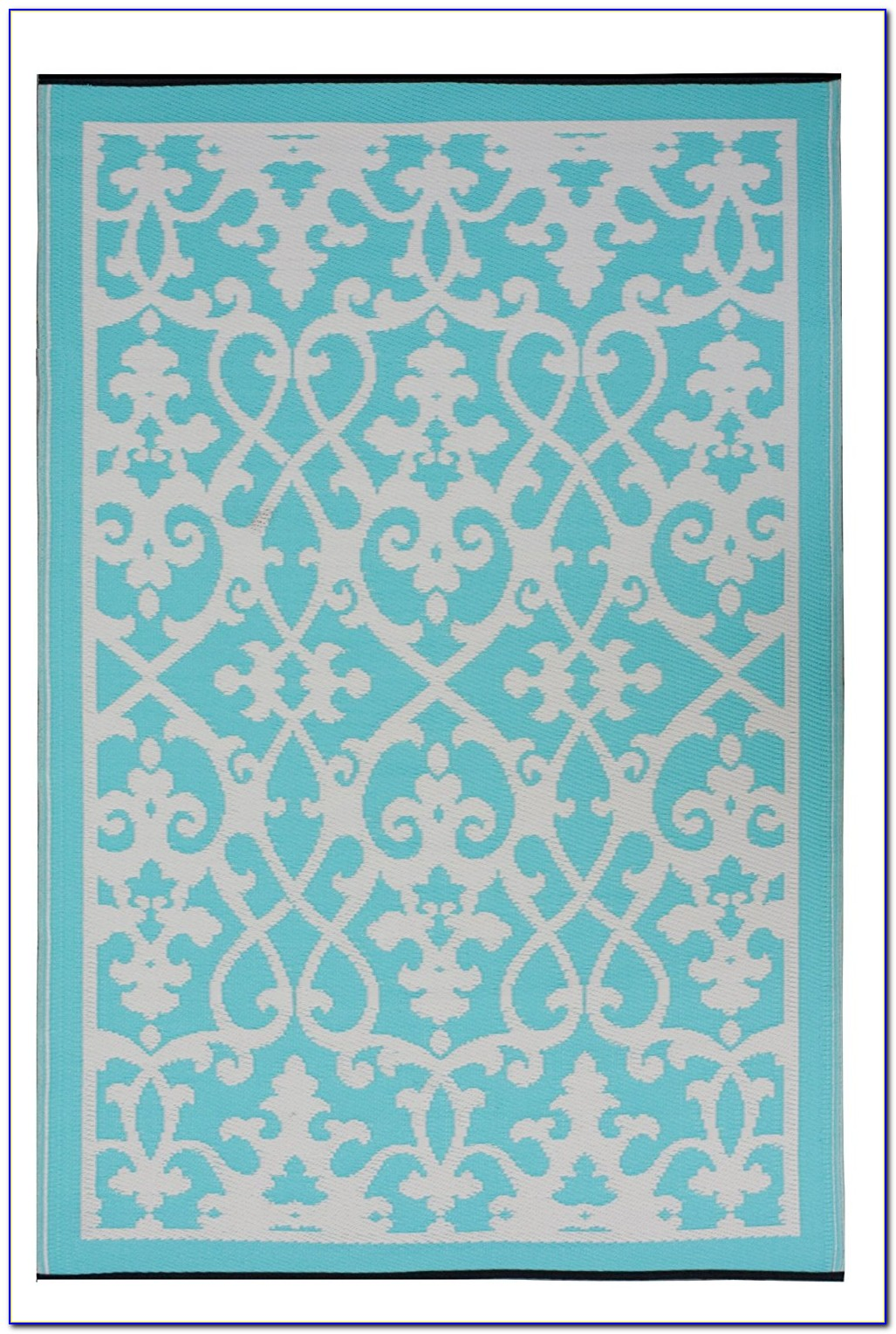 Orange And Turquoise Outdoor Rug