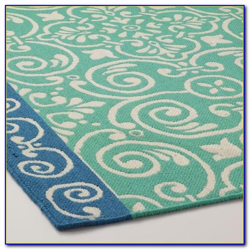 Round Turquoise Outdoor Rug