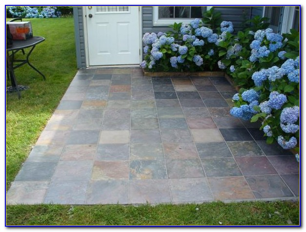 Stone Tile Over Concrete Patio