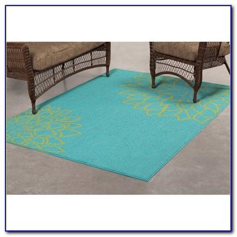 Turquoise And Brown Outdoor Rug
