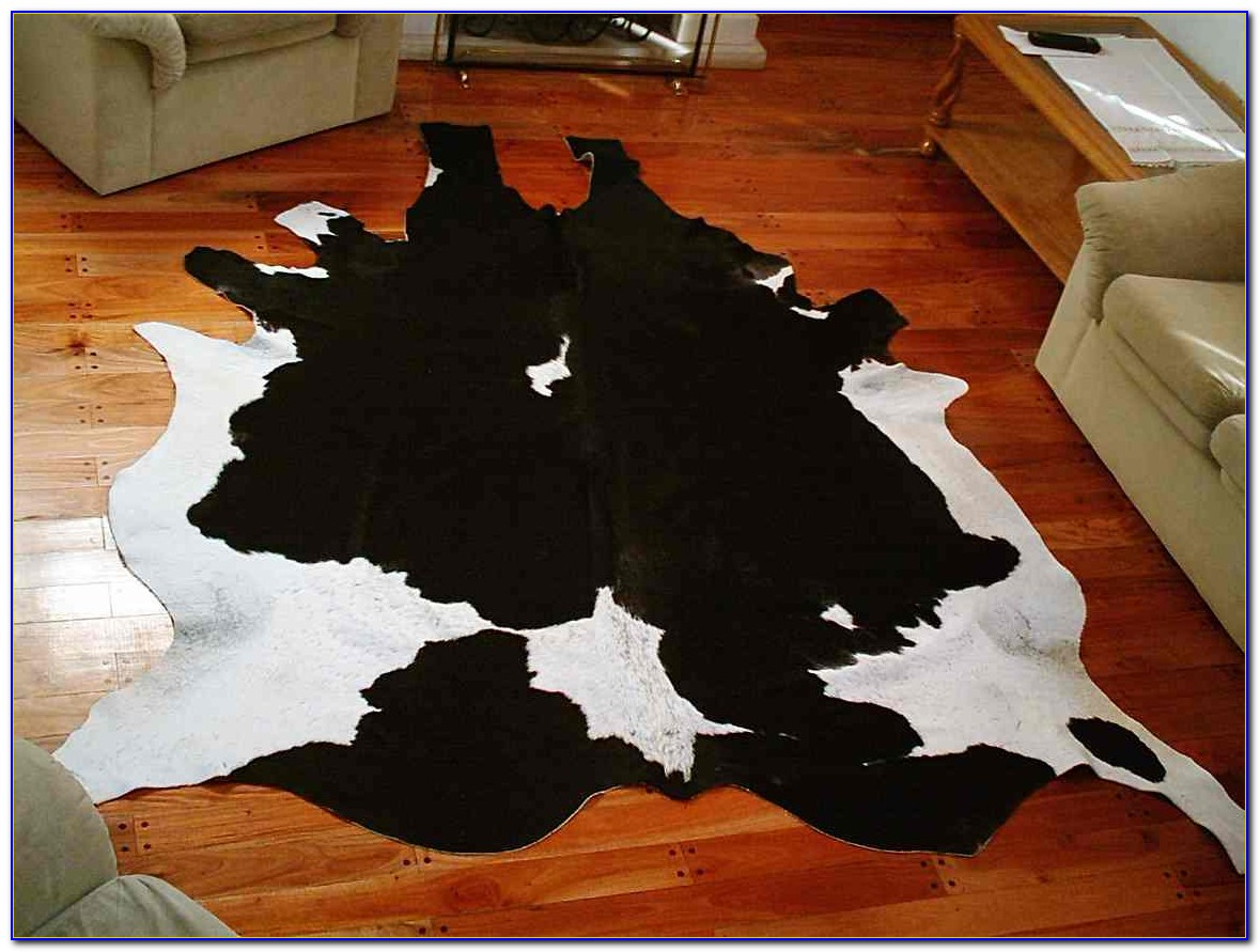 White Cowhide Rug With Silver