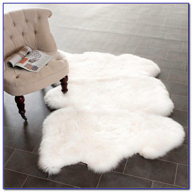 White Furry Throw Rug