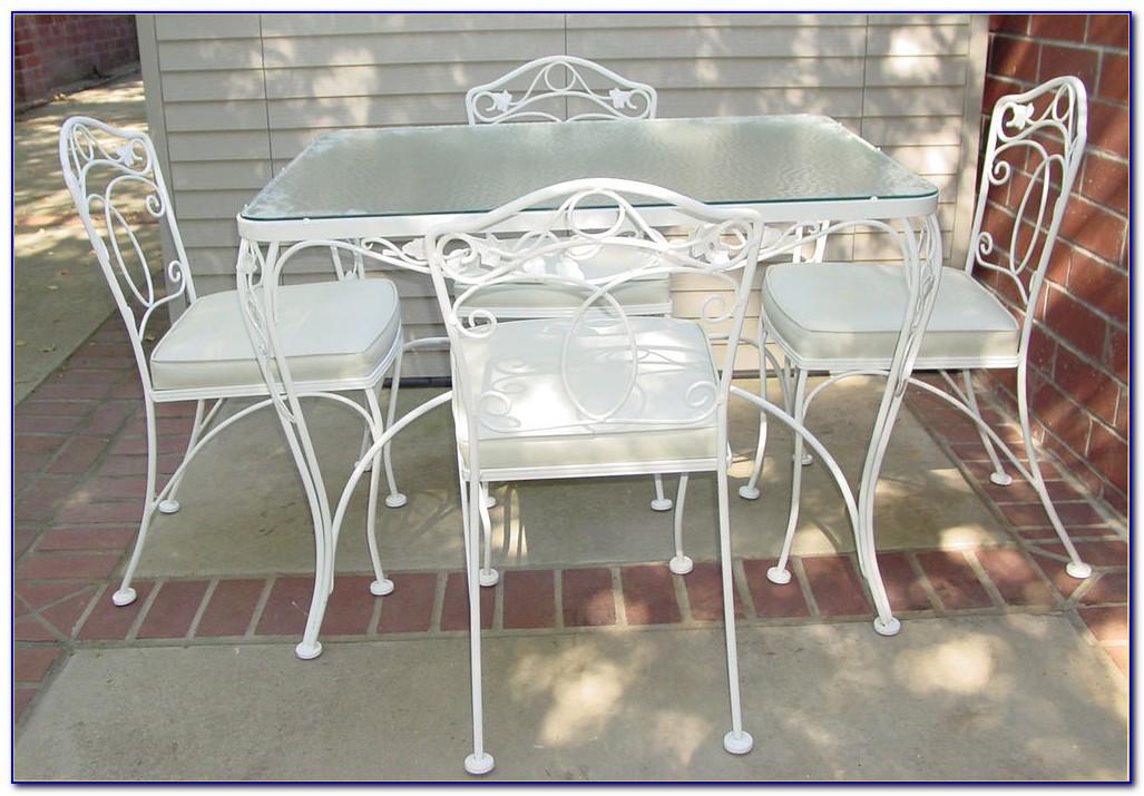 White Wrought Iron Outdoor Table