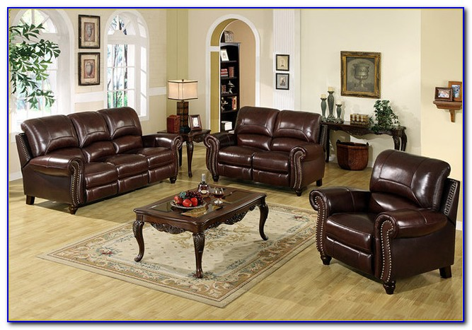 Ashley Top Grain Leather Reclining Sofa