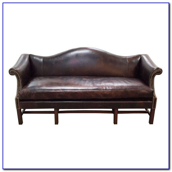 Bernhardt Leather Sofa With Nailhead Trim
